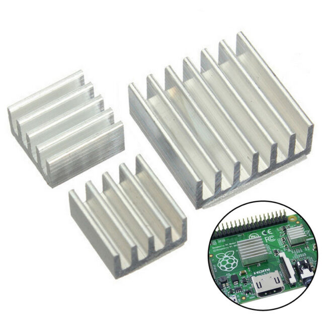 3 Pcs Set  Adhesive Aluminum Heatsink Cooler Cooling Kit for Raspberry Pi oolk
