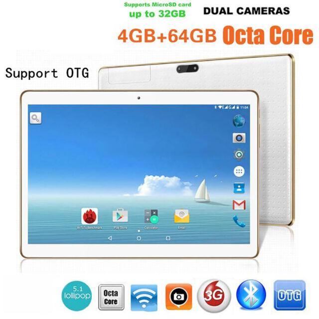 10.1Zoll Tablet PC Android 6.0 Octa Core 64GB+4GB HD WIFI Phablet 2SIM & 2Kamera