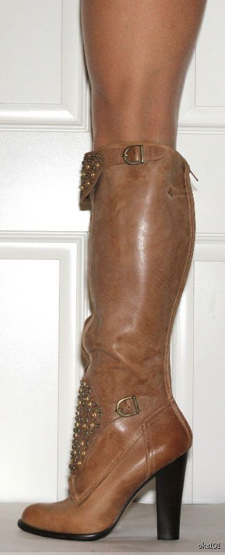 New  473 CANDELA tan leather STUDDED tall Stiefel 10 - amazing