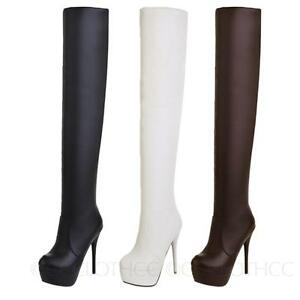 Stiletto-heels-boots-Womens-Sexy-Thigh-high-Long-Faux-Leather-Shoes-Sz-13-1-CCC