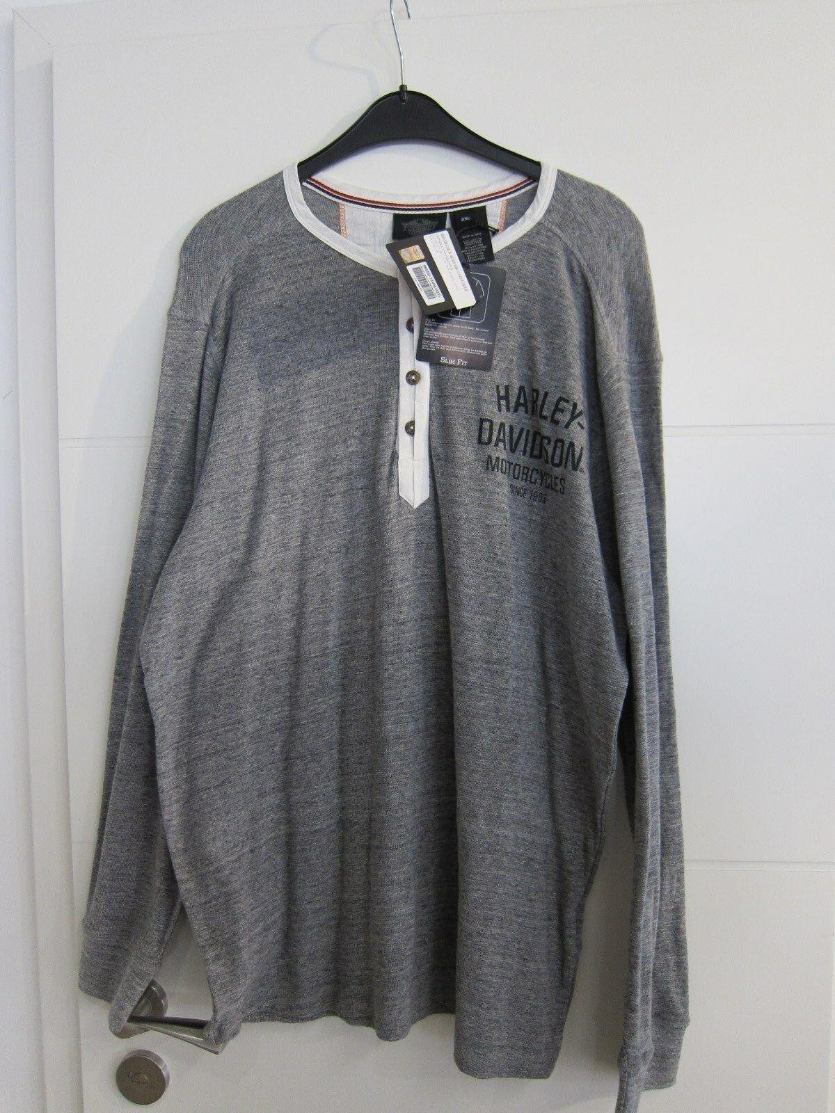 HARLEY-DAVIDSON Manica Lunga Slim Fit 96500-15vm THERMAL SHIRT SHIRT SHIRT grigio TG. XXL f0a742