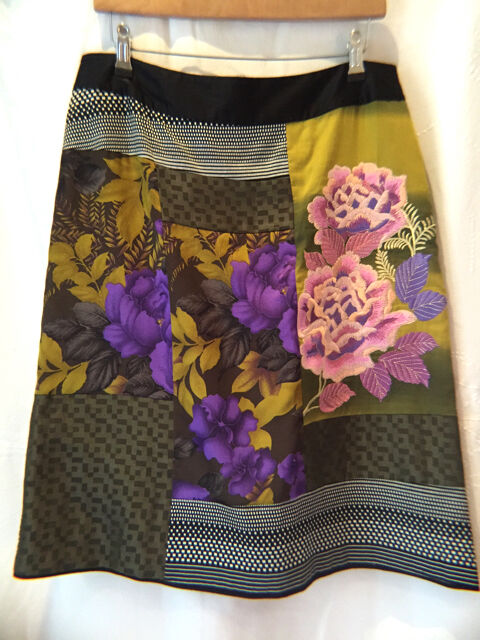 MONSOON 14 Skirt Cotton Silk Embroidered Floral Multi Colour Lined Fab
