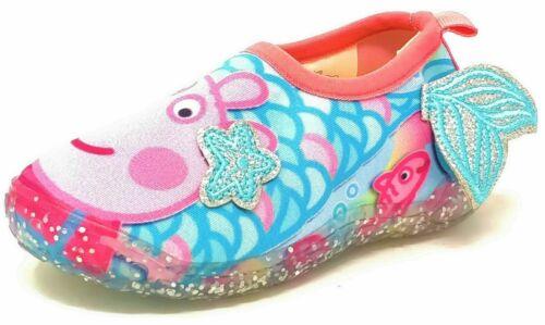 Girls Blue Mermaid Aquasocks Beach Sandals Clogs Shoes Mules Kids Size 5-10