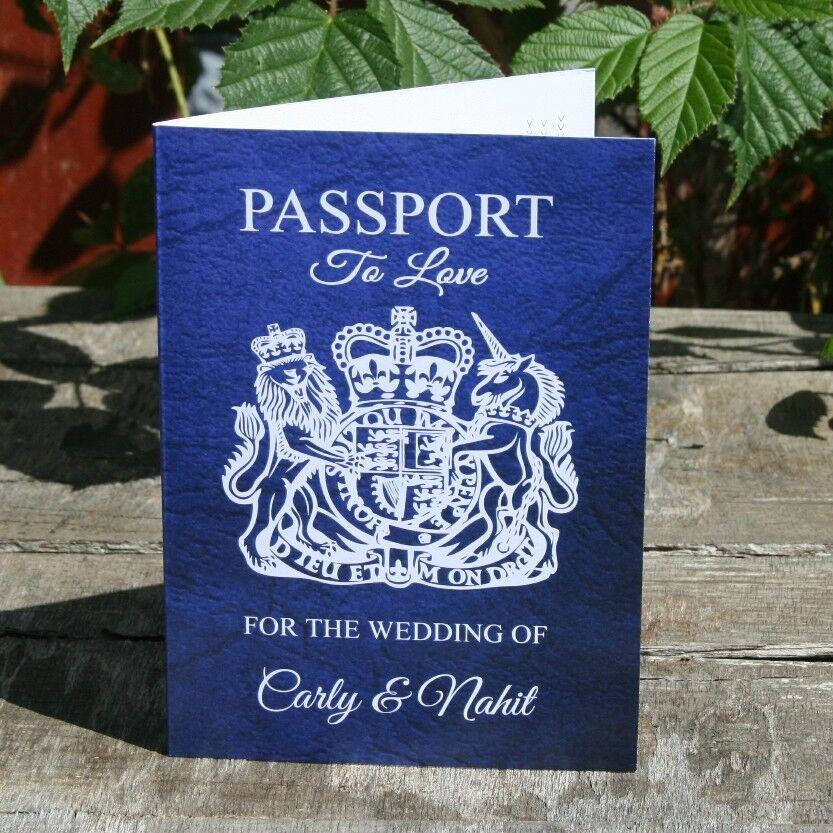 Personalised Passport 4 Page Wedding Invitation Destination Abroad