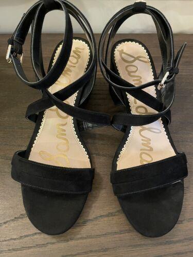 sam edelman black suede strappy heeled sandals 8 E