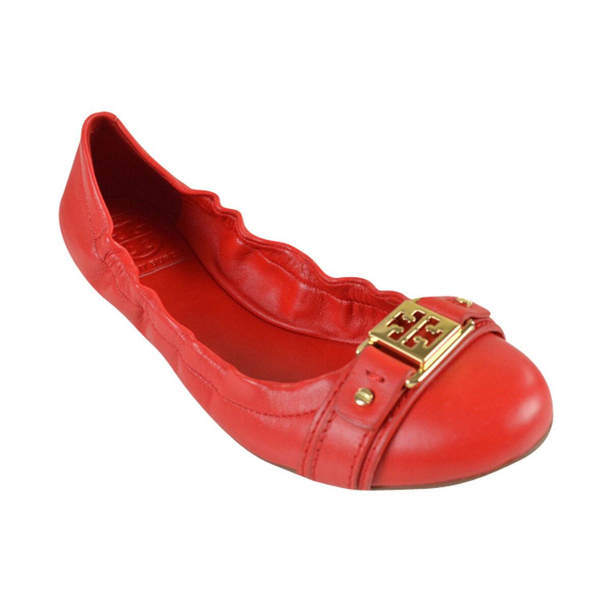 NIB Tory Burch AMBpink gold gold gold Logo Reva Cap Toe Ballet Flats 7-8.5 c8e771