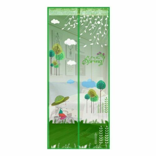 Mosquito Net Magnetic Screen Door Cartoon Pattern Automatic Shut Mesh Curtain
