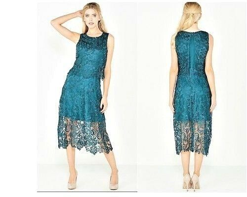 7f4cb160 AX Paris Teal Overlay Crochet Lace Dress Size 8 (15) for sale online | eBay