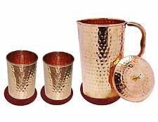 Pure Copper Jug Set 2 Glass Brown Color Water Pitcher Drinkware Set With Coaster