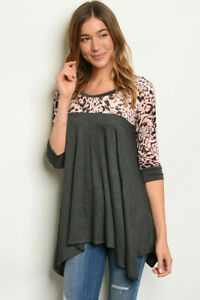 New-Ladies-Boutique-Boho-Gray-Leopard-Print-Shark-Bite-Hem-Western-Tunic-S-M-L