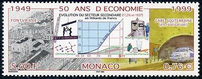 Stamps Monaco Timbre De Monaco N° 2205 ** 50 Ans D'economie Fontvieille Gare