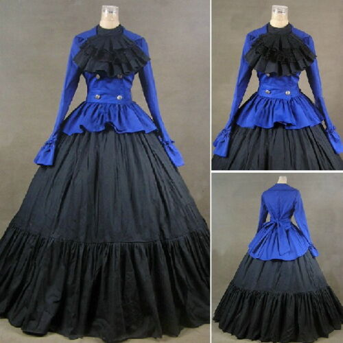 Vintage Victorian Dress Ball Gown With Jabot Gothic Blue Reenactment Cosutme