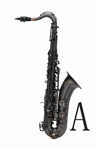 100-New-Professional-Bb-Matt-Black-Surface-Black-Key-High-F-Tenor-Saxophone