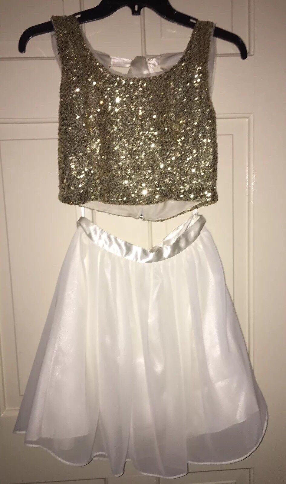EUC Size 1 Two- Piece White  gold Party, Prom, Homecoming Dress
