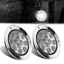 2pcs 12 Led White 4 Inch Round Backup Reverse Tail Lamp Lights For Truck Trailer