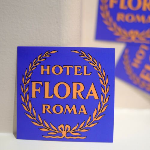 """#4144 Hotel Flora Rome Italy vintage old looking 3/"""" Luggage Label Decal Sticker"""