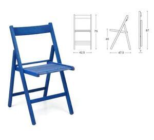 Sedie Pieghevoli Di Design.Set 4 Sedie Pieghevoli A Libro Pieghevole In Legno Di Faggio Blu