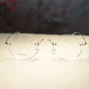 0ef8523fb98d Image is loading Titanium-Round-Steve-Jobs-eyeglasses-rimless-mens-silver-