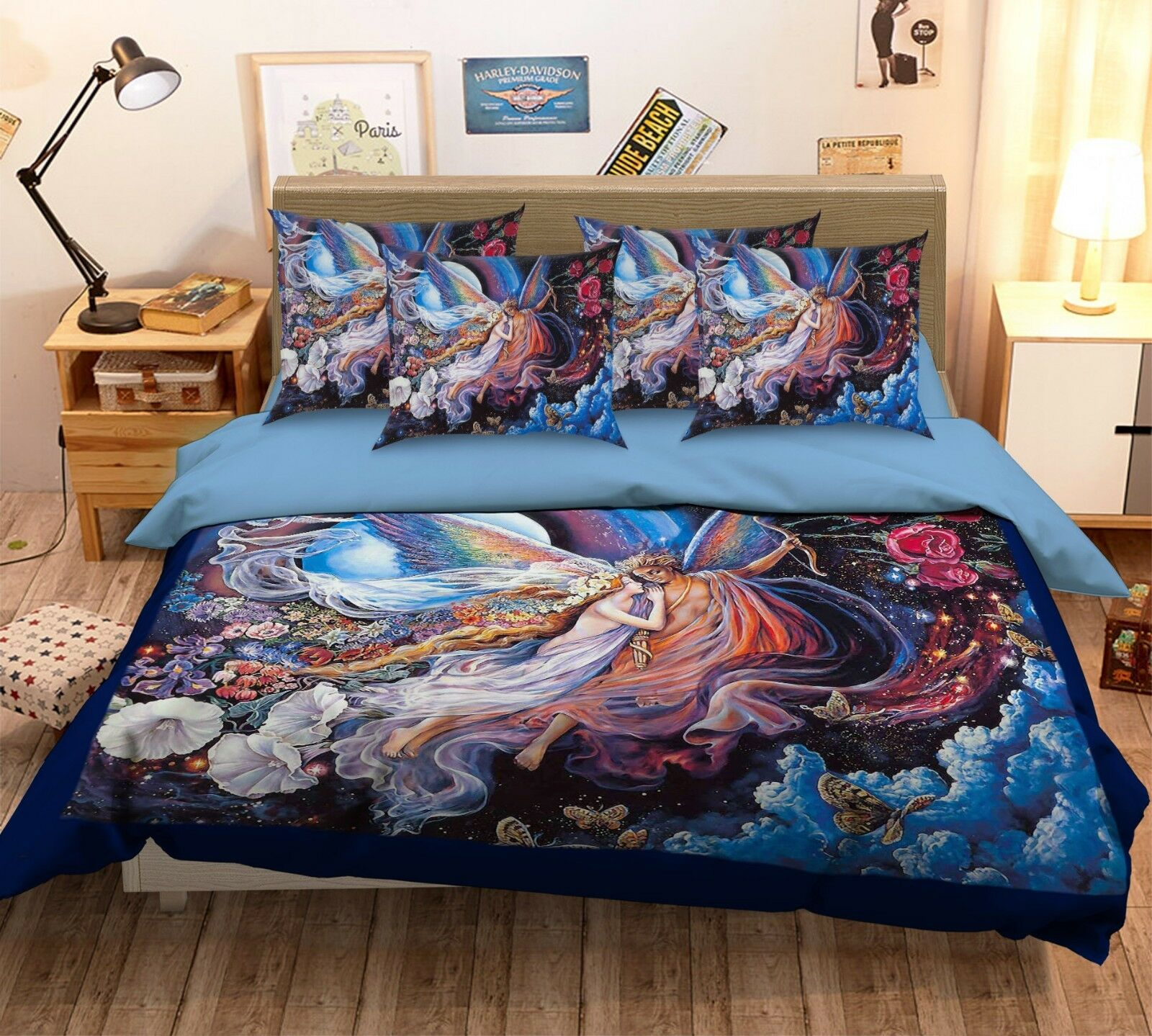 3D Cupid Painting 58 Bed Pillowcases Quilt Duvet Cover Set Single Queen King AU