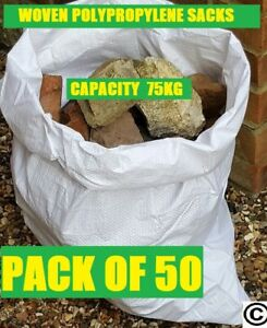 "100 Woven Polypropylene Builder Rubble Sacks Bags 20 x 30/"" 50cm x 75cm"