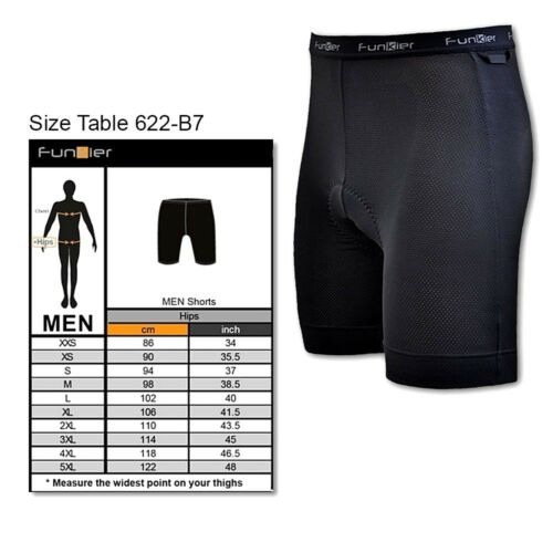 Funkier Men/'s 7-Panel Padded Bicycle Shorts Liner with B7 Chamois BS622-B7