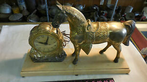 1950 United Brass/ Metal Horse Western Motif Clock w/ Base cracked --Works