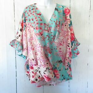 New-Umgee-Top-XL-Green-Floral-Animal-Ruffle-Sleeve-Boho-Peasant-Plus-Size