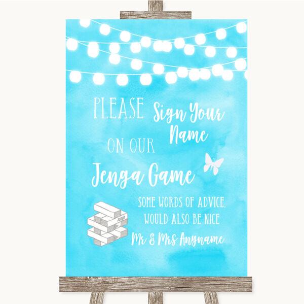 2019 Nuovo Stile Aqua Sky Blue Acquerello Jenga Luci Libro Degli Ospiti Matrimonio Personalizzati Segno