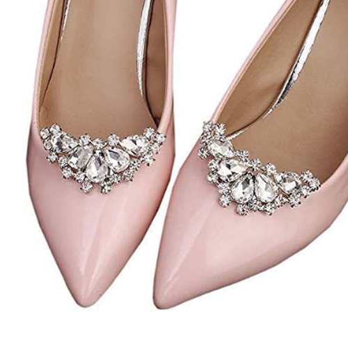 HJYHYN Silver Shoe Clip Shoes Jewelry Decoration Crystal Shoe Buckle for Wedding