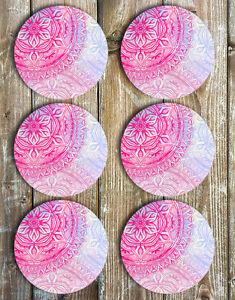 Pink-Mandala-Drink-Coasters-Non-Slip-Neoprene-Coasters-Barware