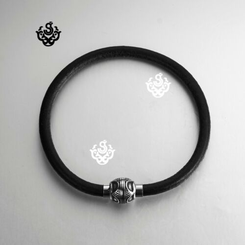 Silver rope chain black leather wristband bangle bracelet magnet clasp 210mm