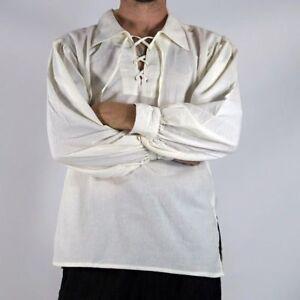 Men/'s Medieval Pirate Shirt Top Fancy Dress Halloween Costume Gothic Renaissance