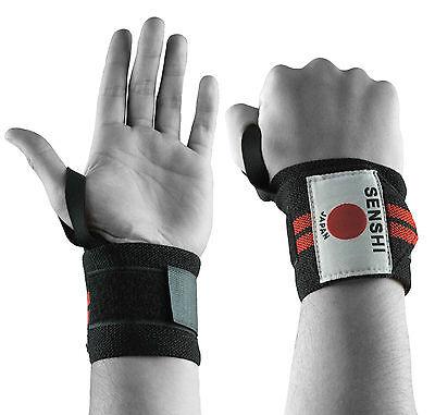 Miele Senshi Giappone Peso Sollevamento Cinturino Da Polso Wrap Supporto Con Pollice Anello Coppia Grip-