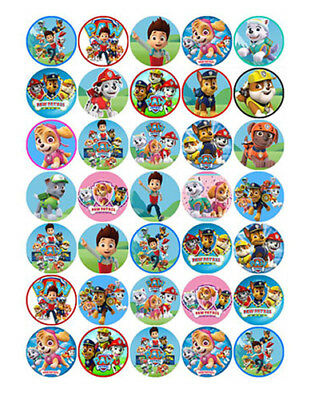35 PAW PATROL Edible Mini Cupcake Cup Cake Birthday Decoration Toppers Images