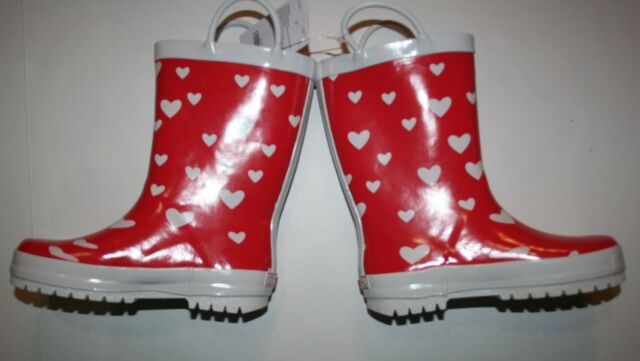 New Gymboree Red with White Hearts Rain Boots Size 11 Kid NWT Girls Rubber Boot