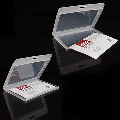 PORTE BADGE Noir Cou Carte Credit Pass ID Card Holder badge Identity Horizontale