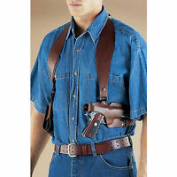 Handgun Pistol Classic Shoulder Leather Gun Holster Double Mag Pouch Old West