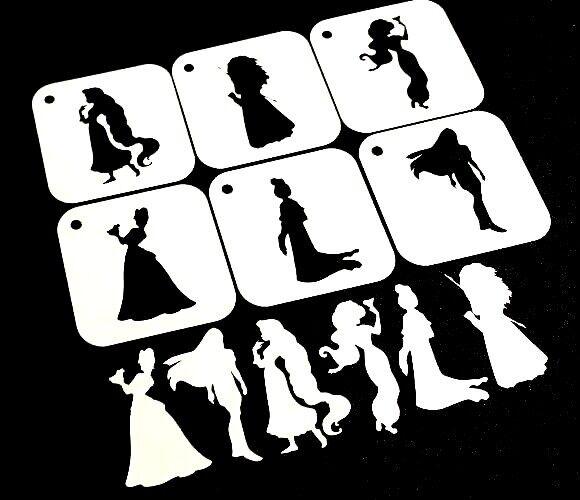disney style princess set of 6pcs reusable stencils party decoration