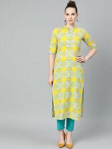 Women Indian kurta dress summer cotton palazzo Top Tunic Set blouse Combo Ethnic
