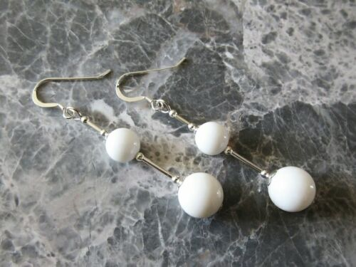 White Tridacna Clam Shell Pearls /& Sterling Silver Long Drop Designer Earrings
