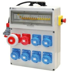 AgréAble Quadro Elettrico Da Cantiere-n.8 Prese Industriali-pot. 18kw.-certif. Inclusa CoûT ModéRé