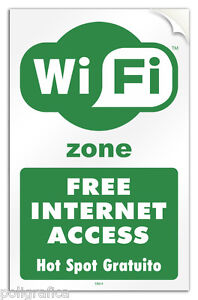 Cartello-PVC-adesivo-034-Wi-Fi-Free-Internet-Access-Hot-Spot-Gratuito-034