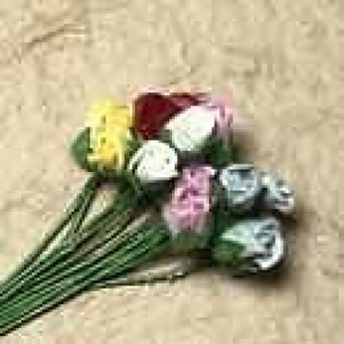 20 MIXED CARD CRAFT ROSES 4MM FOR CARDS OR CRAFTS