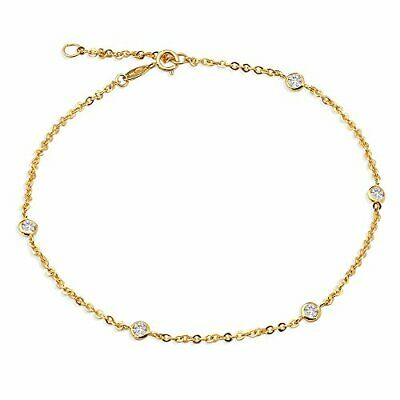 Fine Jewelry #19 Lovebling 10k Gold 1.8mm Rolo Chain With 5 Cz Stone Pendants Anklet