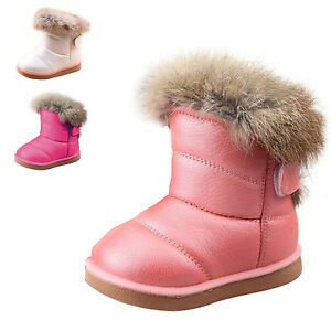 8863f7d48656 Children Kids Baby Girls Winter Warm Snow Boots Fur Lined Leather ...