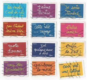 FRANCE-2011-SOURIRES-BEN-SERIE-COMPLETE-DE-12-TIMBRES-AUTOADHESIFS-OBLITERES