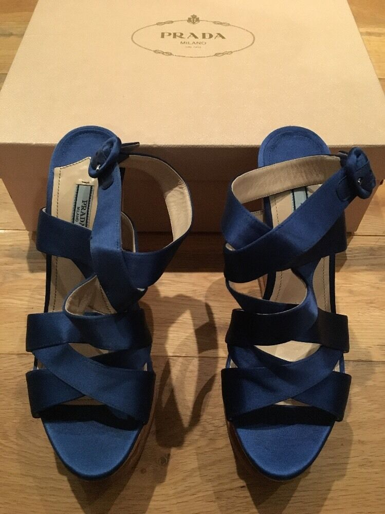PRADA bluee Satin Cork Wedge Platform Sandals EU 39.5 UK 6.5 7 US 9.5 New