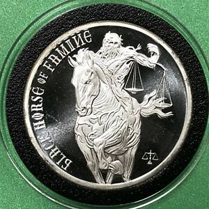Black Horse Of Famine Horsemen 1 Troy Oz .999 Fine Silver Collectible Round Coin