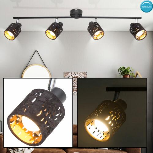 Luxus Decken Lampe Samt Spot Strahler schwarz Arbeits Zimmer Flur Leuchte gold