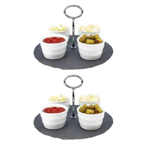 4 Schalen Snackschale Servierschale Servierplatte 5-tlg Dipschalen SET Etagere